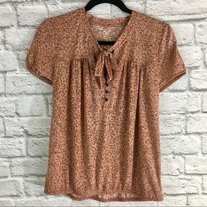 Ann Taylor LOFT Polka Dot Tie Front T-shirt Size M